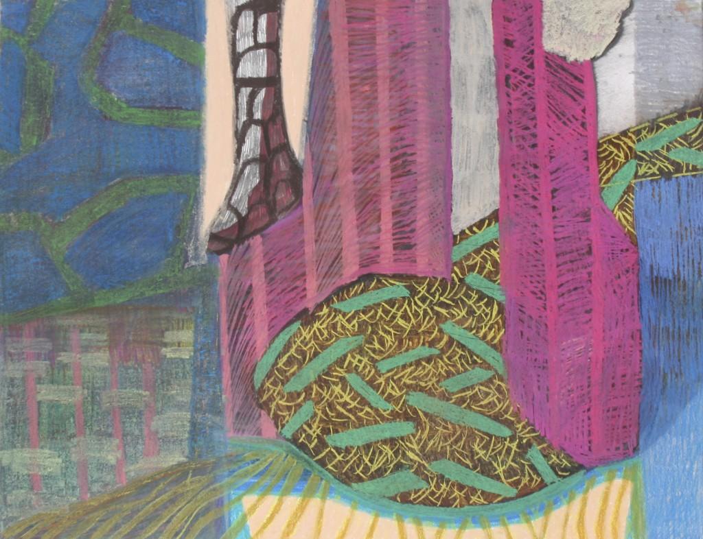 Vendbar situasjon 1. 50 x 65 cm. Pastellkritt på papir.