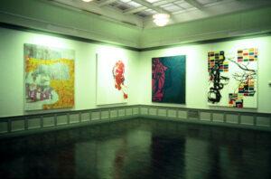 Stavanger Kunstforening 1999. Arkiverte stader 2. 180x210cm. Akryl og olje på lerret.